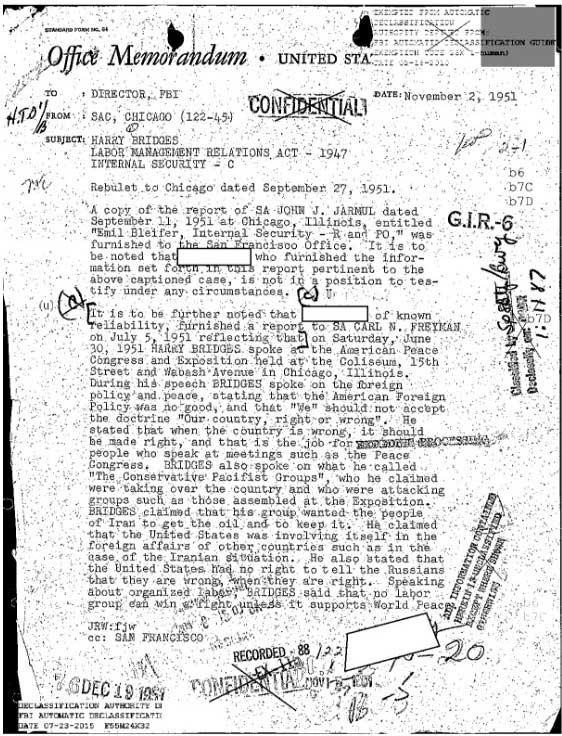 Harry Bridges Historical Document